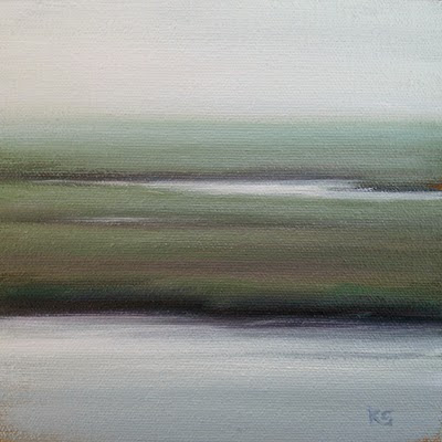 foggy Outer Banks Marsh Oil Painting by Kerri Settle