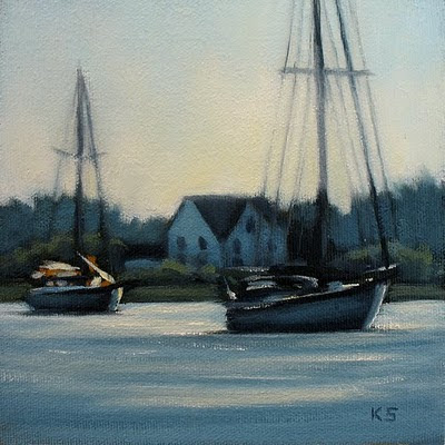 Boats at Ocracoke Oil Painting by Kerri Settle