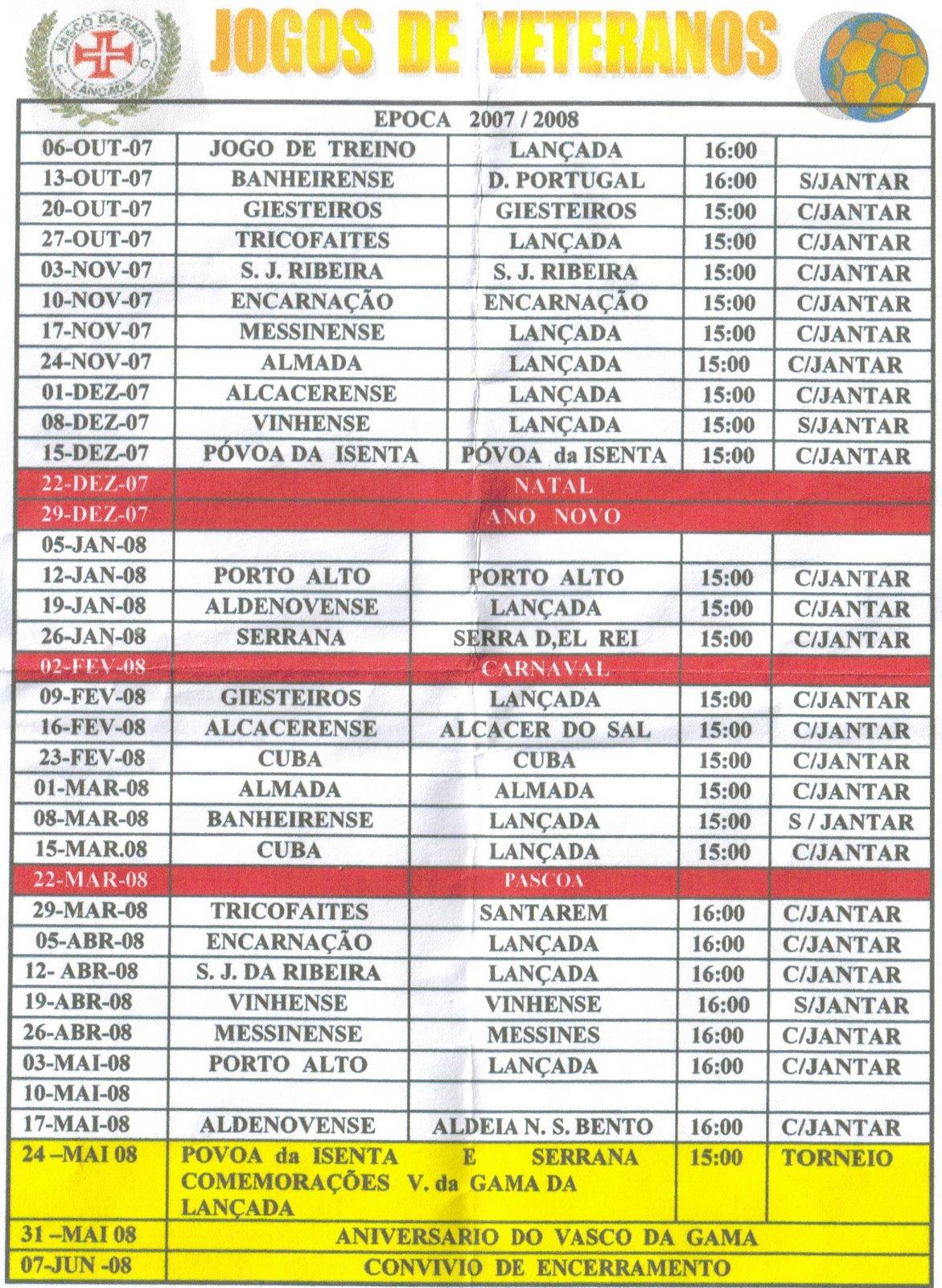 Calendário Veteranos 2007/2008