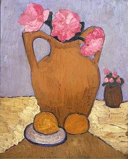 Still Life with Pitcher, Peonies and Oranges
