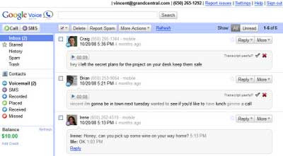 Interface Google Voice