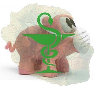 Cochon stylisé avec un masque sur le groin et caducée au dessus de La Réunion