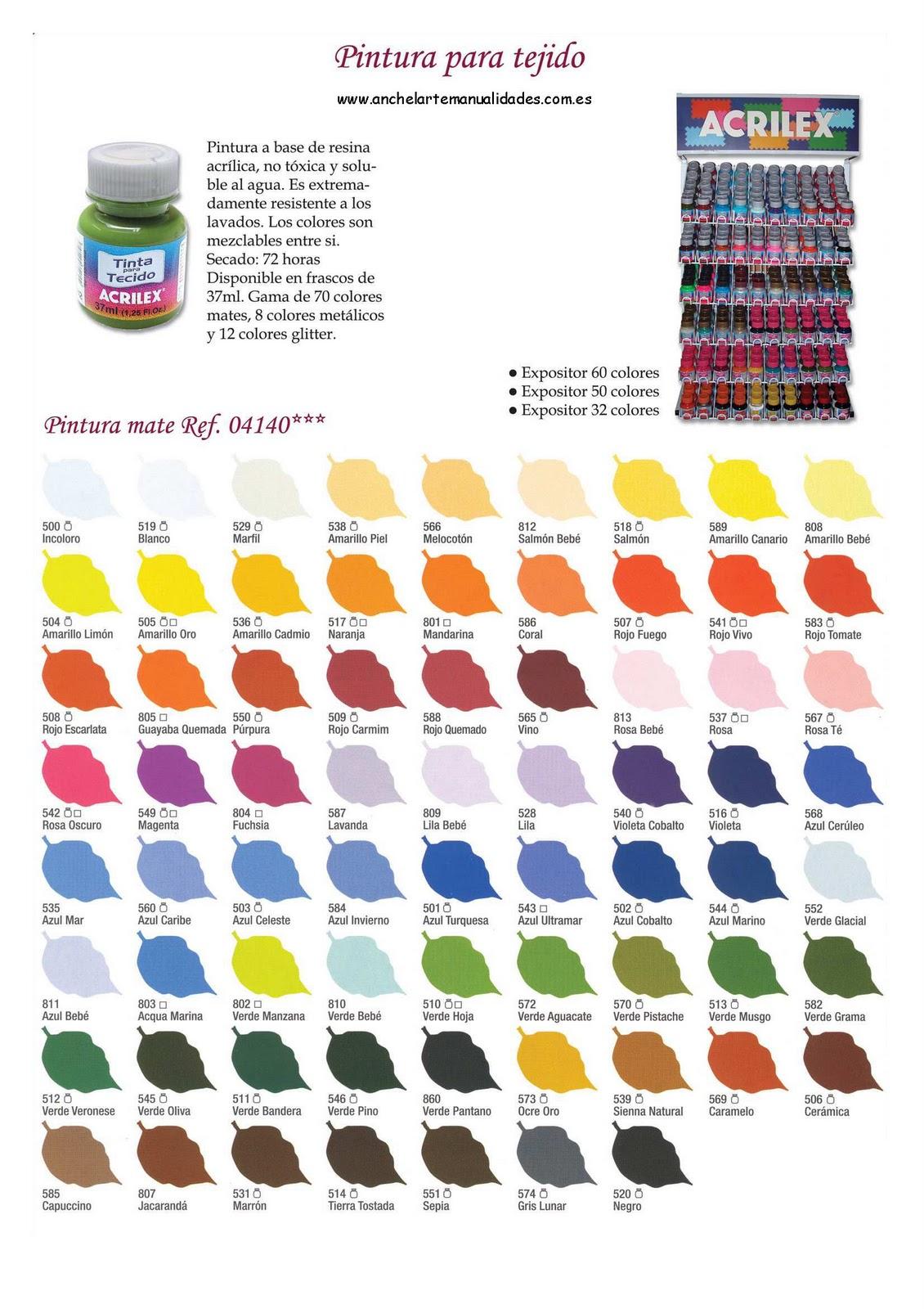 Anchel arte manualidades gama de colores acrilex for Gama colores pintura