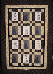 Lap Quilt Vintage Look Ladies in Black and Grey