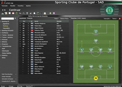 Football Manager 2008 - Algumas images de save com a táctica 4411 Vodu