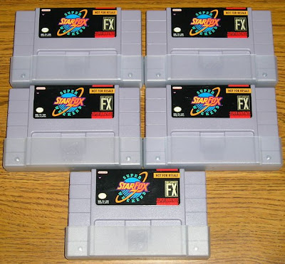 Five Starfox Super Weekend Cartridges
