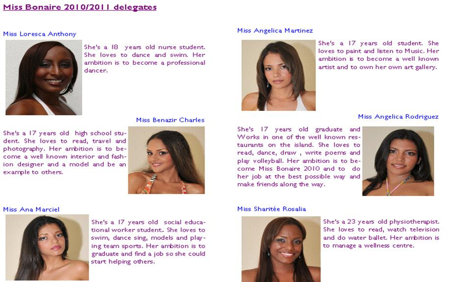 WINNER/s will represent Bonaire in Miss Universe 2011, Miss World 2010 and