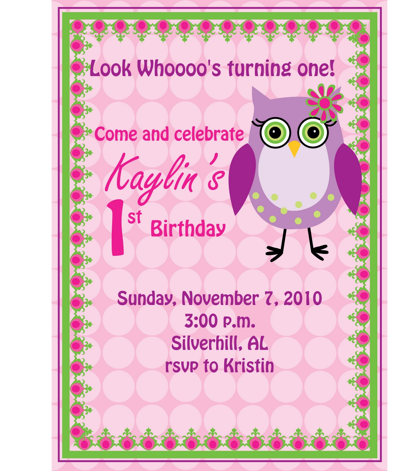 Bubbles Under the Moon Birthday owl invitations