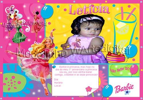 Convite Infantil Barbie Bailarina