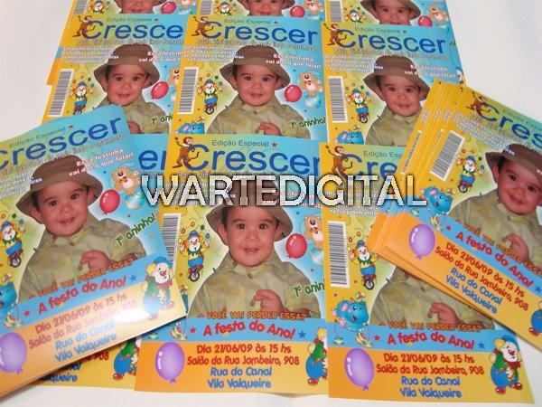 Convite Infantil Capa de Revista