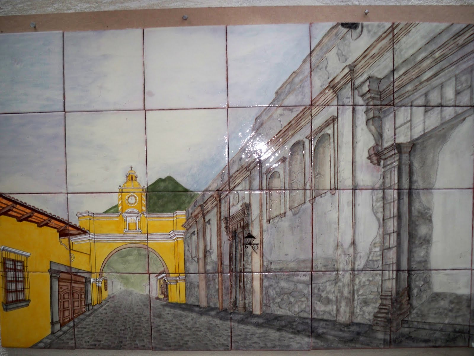Azulejo hecho a mano antigua guatemala ceramica vidriada - Como pintar azulejos a mano ...
