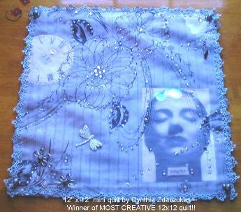 12x12 Fabric technique swap - Winner Most Creative: Cynthia Zdanzukas!