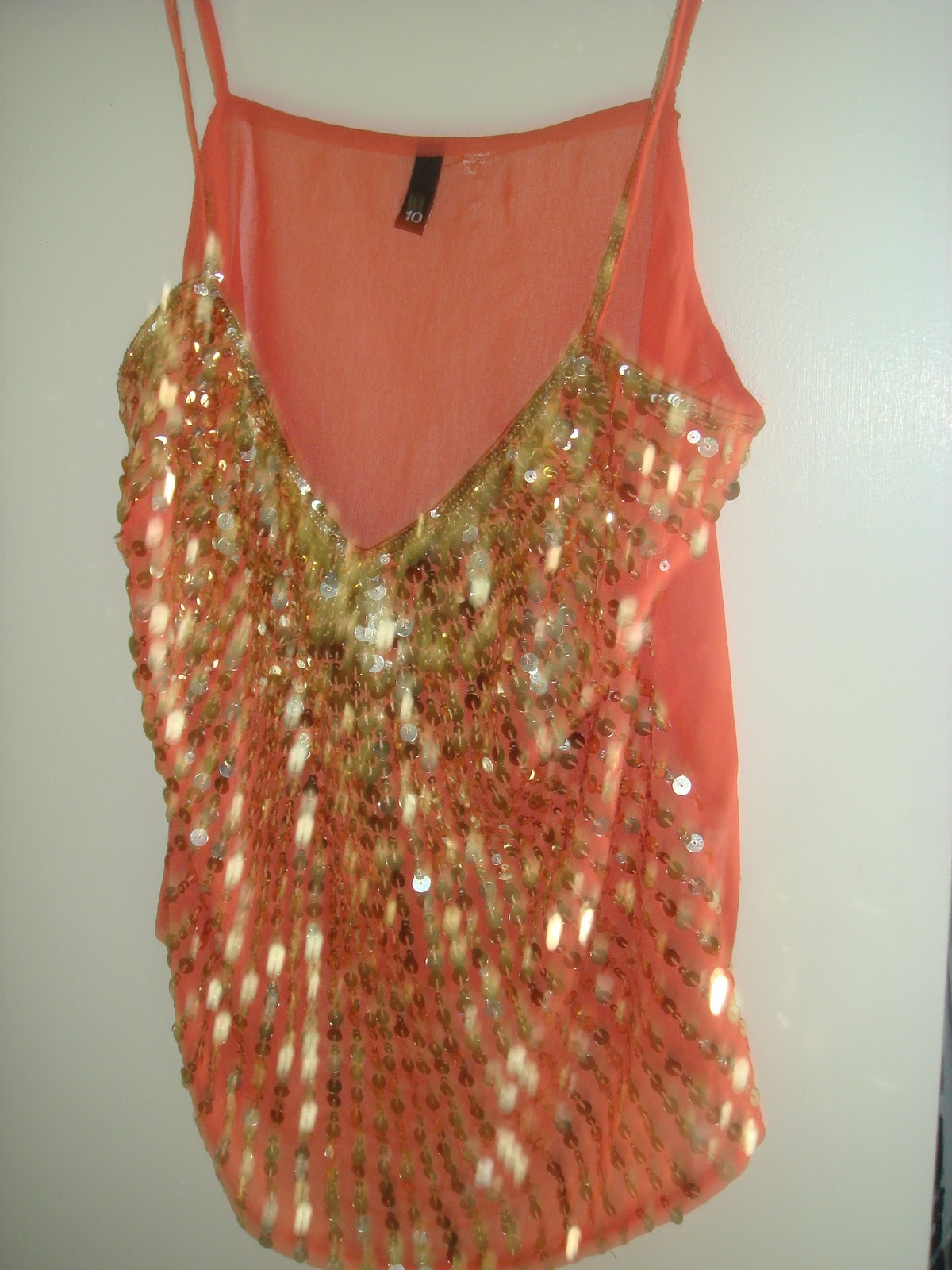 Shop rightupyouraly h amp m peach w gold sequin top 15 sold