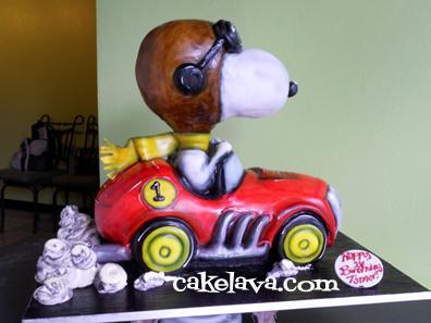 cakelava Snoopy in a Race Car Birthday Cake