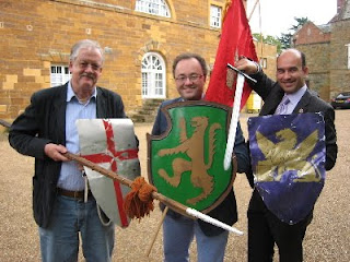 Roger Helmer MEP (L) and his replacement Rupert Matthews (C) jousting. Photo: