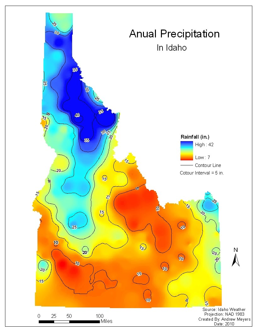 this map also shows the average rainfall for idaho this isarithmic map was created using true point data and the inverse distance weighted interpolation