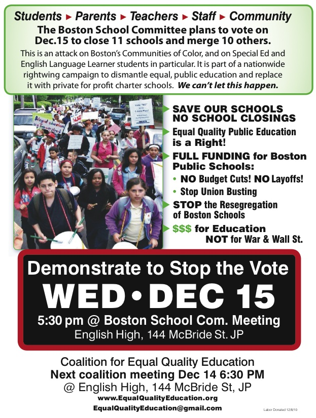 Bostons Special Education Budget Cuts >> Schools Matter Stop The Corporate Closure Of 11 Boston Public