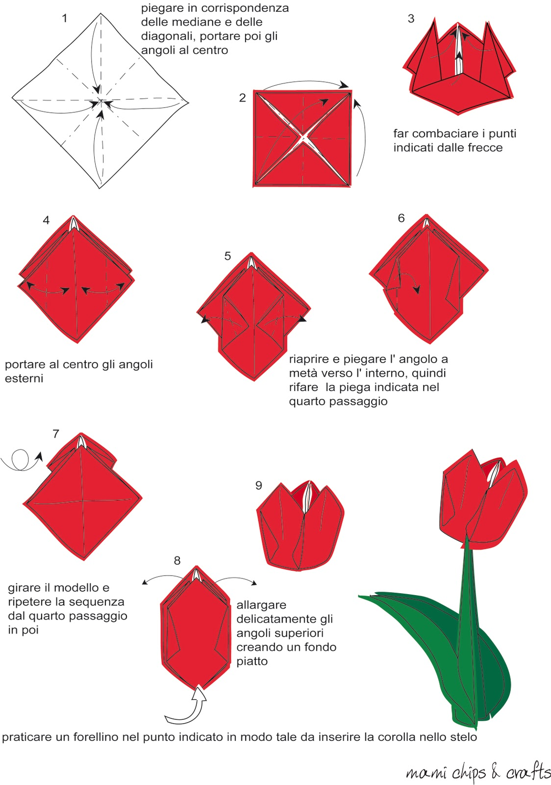 Как сделать тюльпан оригами маме к 8 марта? Схема 17