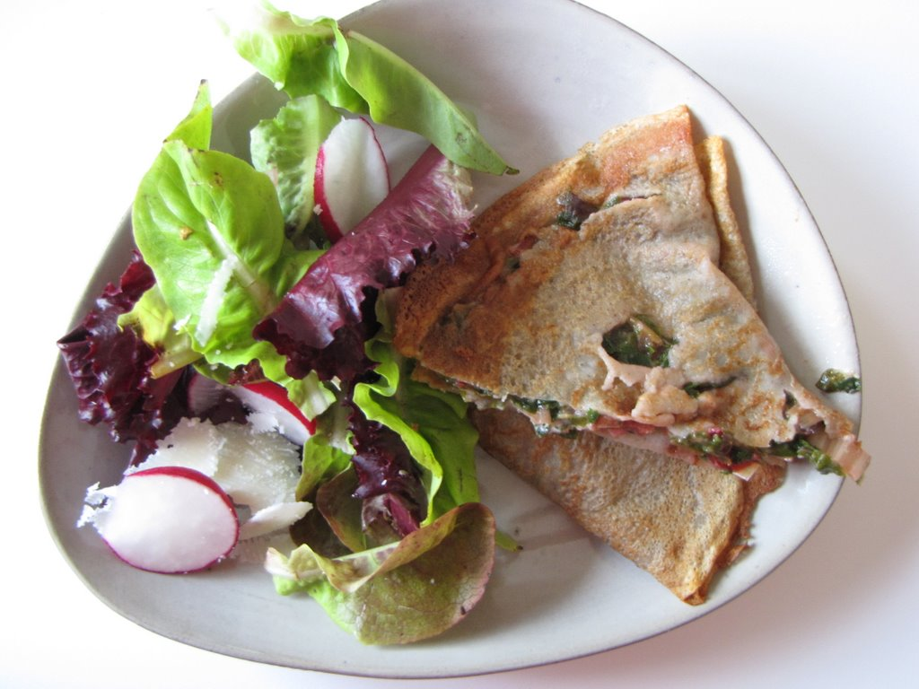 table etc.: Buckwheat Crepes with Goat Cheese and Wilted Greens