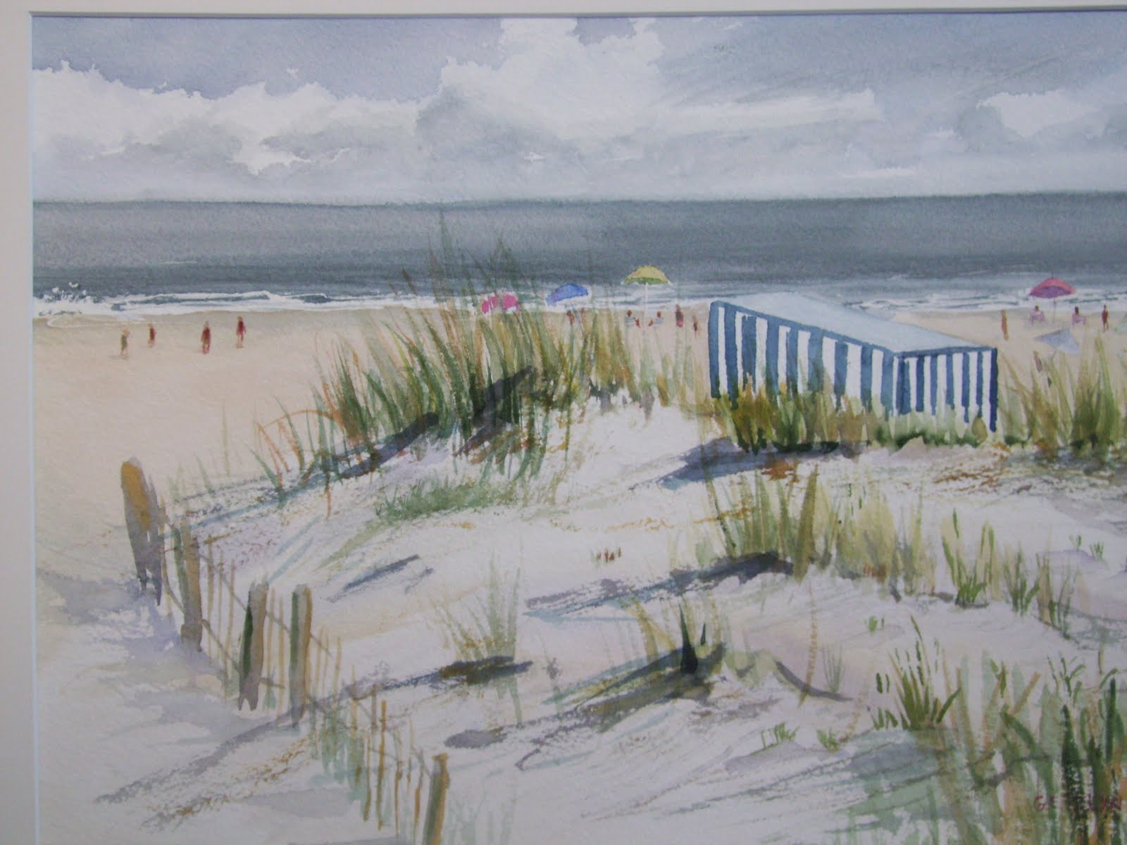 Beach chair with umbrella painting - Spring At The Beach