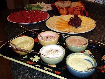 A nice assortment of dipping sauces for the meat and veggies.