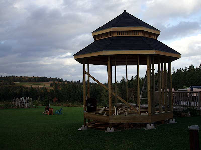 The gazebo is finally getting some work on the lower parts.