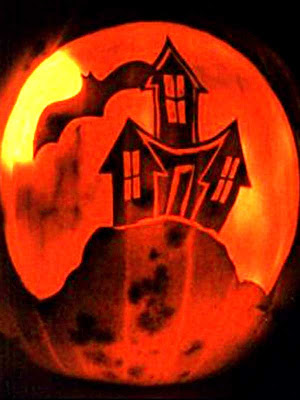 Spooky house pumpkin