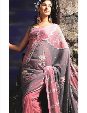Grey Faux Georgette Saree with Blouse-NEWLY ARRIVED!