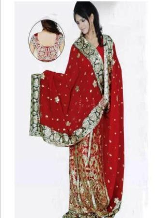 Red Faux Georgette Lehanga Style Saree with Blouse  -  Newly Arrived!
