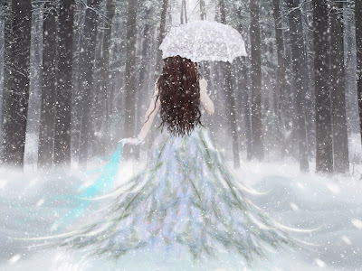 Snow falling cute angel with umbrella rare wallpapers