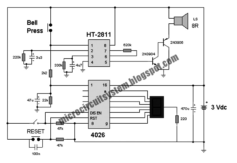 electronic doorbell circuit with counter