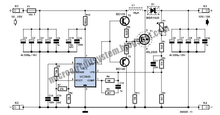 95 Watt Laptop Power Supply Circuit For Car - Circuit Diagram