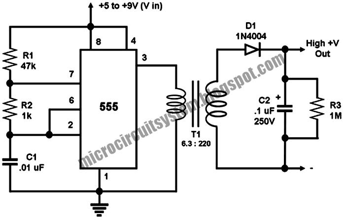 Low DC to High DC Voltage Converter - Circuit Diagram