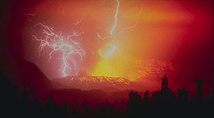 Lightning strikes during the eruption of the huge Galunggung volcano in 1982