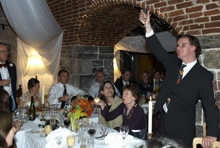 Tom giving a speech at my sisters wedding