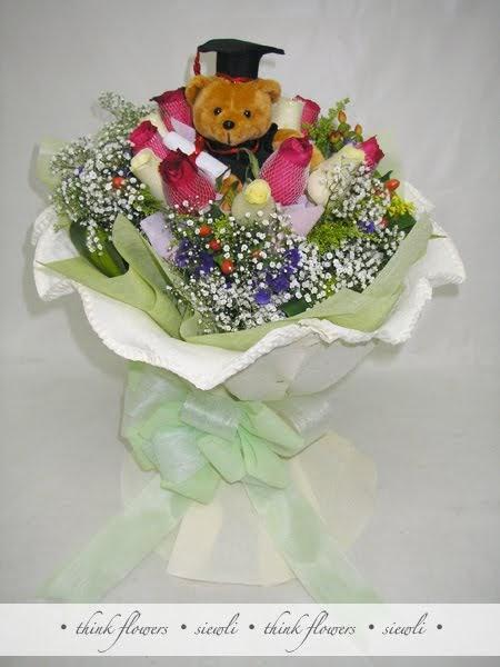 think flowers  hand bouquet  u2013 graduation