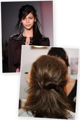 Roll the ponytail up toward the ponytail holder and secure with bobby-pins.