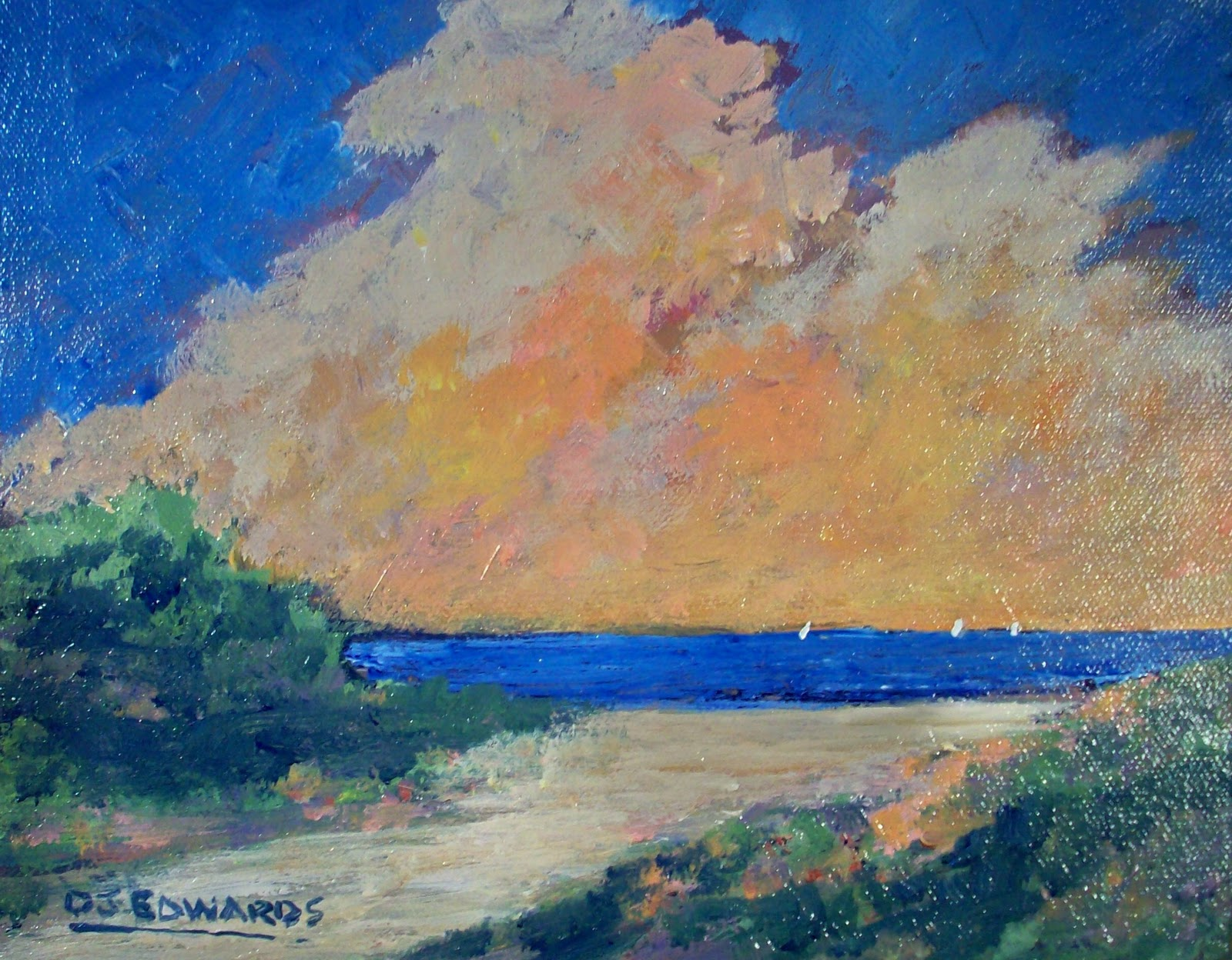 DAVID J EDWARDS PAINTINGS: Beach Path - New acrylic ...