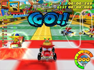 Kart n Crazy is a 3D, cartoony kart racing game. Players race around dozens of courses while lobbing items at each other. There are several game modes, including single and team races. Several different characters and vehicles can be purchased with the in game currency