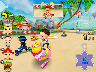 Come On Baby is a 3D Cartoony Racing MMO that plays similarly to Mario Kart. Play as one of six babies in multiple vehicles with various items, game modes, and stages. Most of the stage designs are surprisingly well done and the simple game play makes Come On Baby a must-play casual party game.