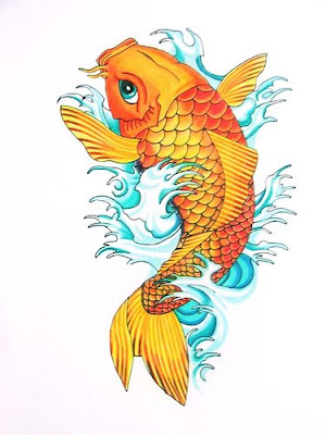 Freehand koi carp tattoo cover by master ya of thai tattoo studio.