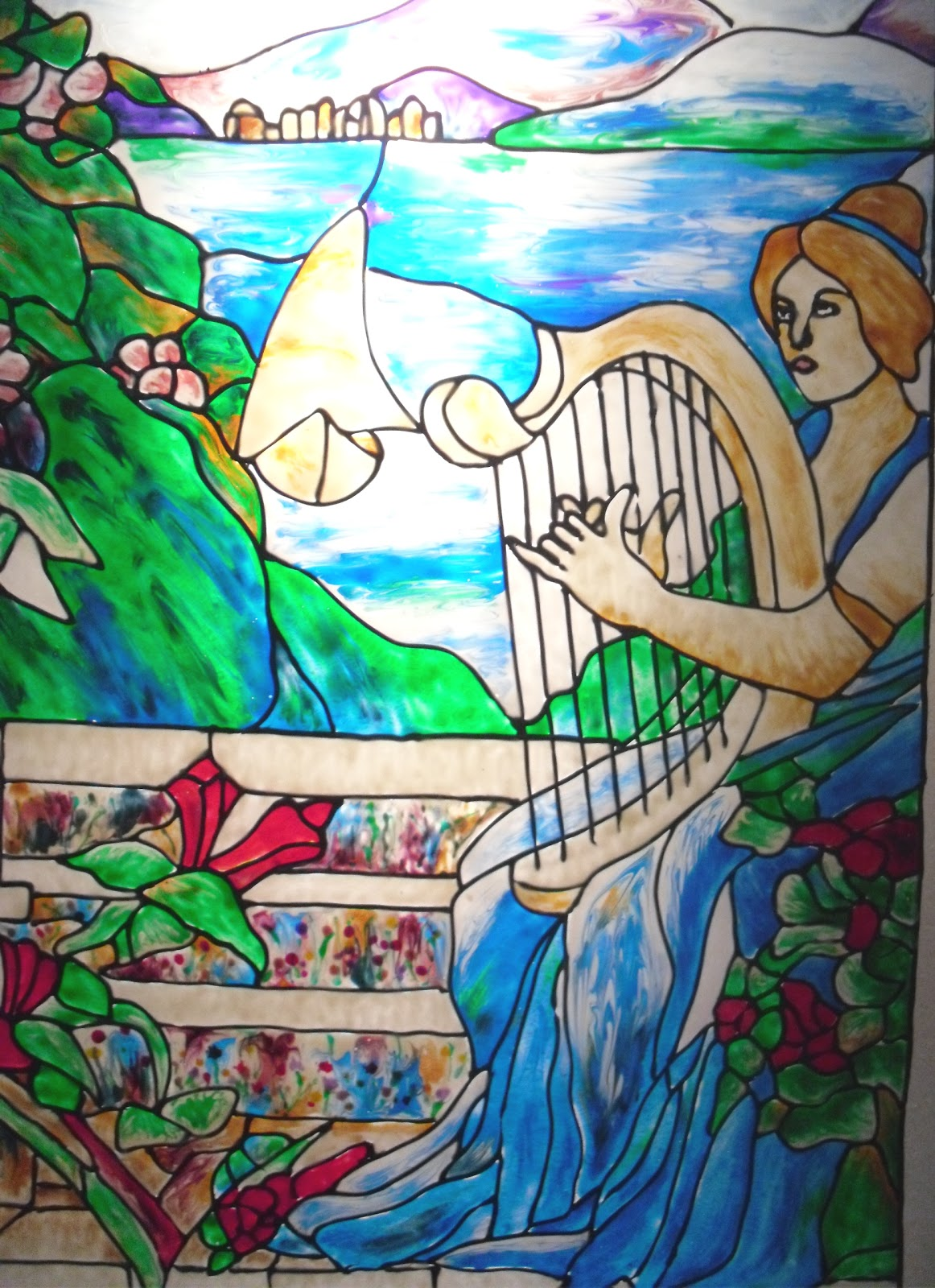 Cathy lynch paintings design stained glass mural for Mural glass painting