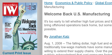 Welcome back USA Manufacturing