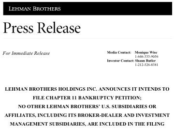 Lehman Brothers to File for Protection