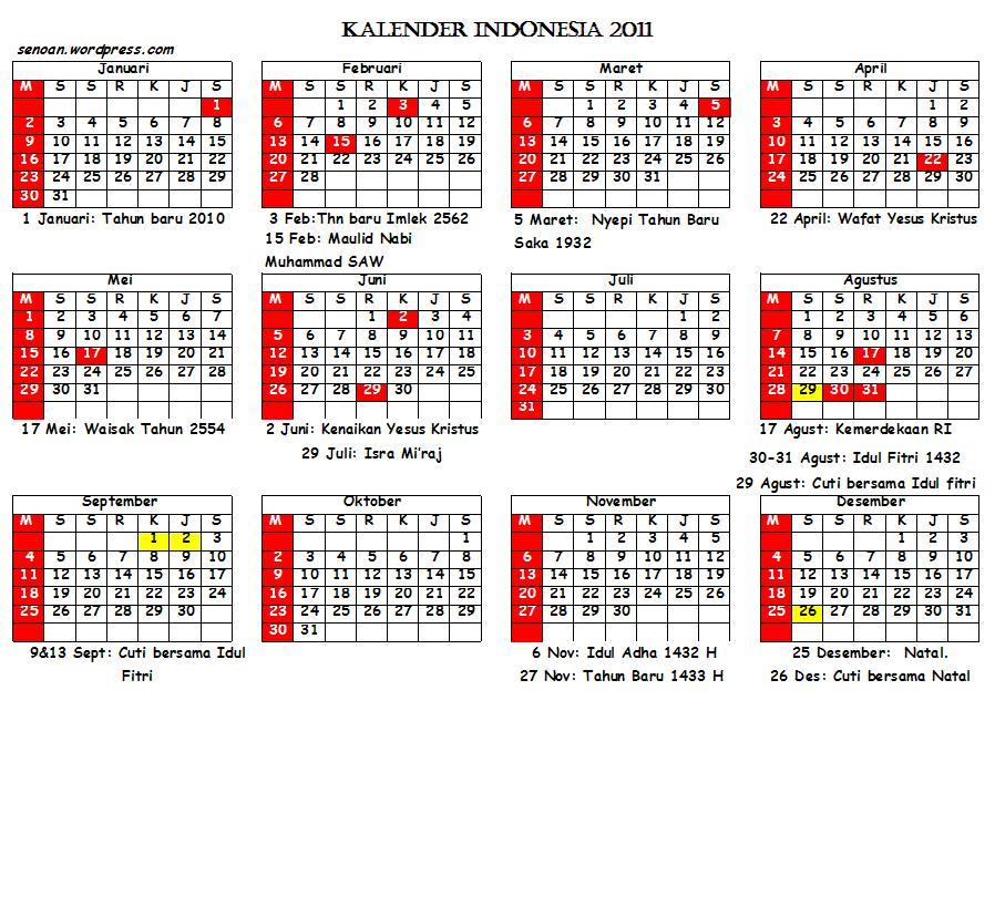 """Saya telah mengumpulkan berbagai """"kalender atau tanggalan 2011"""