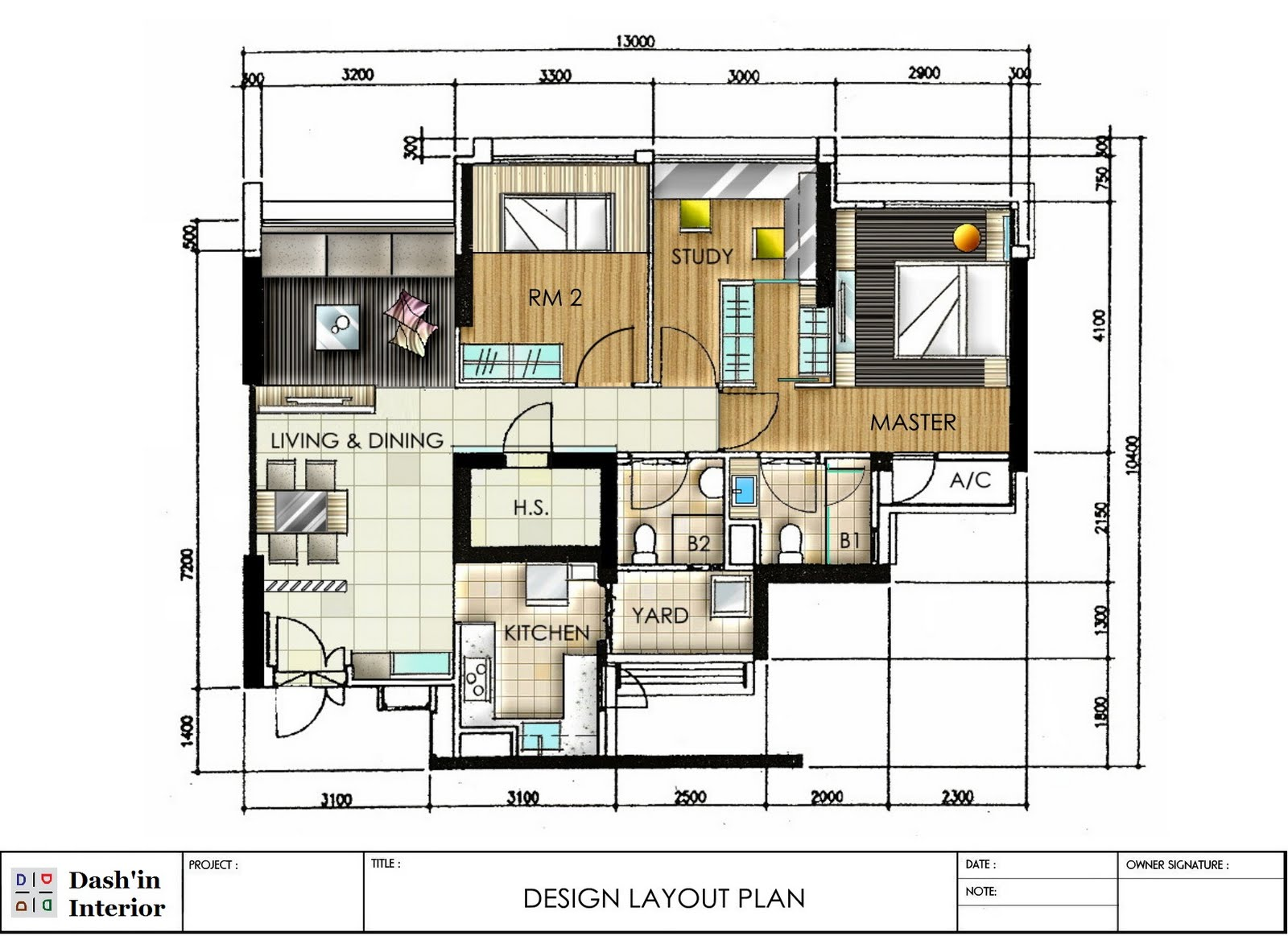 Dash 39 in interior hand drawn designs floor plan layout for Small apartment layout plans