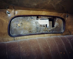 "Later Year Photo-- Rear Window, Interior Bonnie & Clyde ""Death Car""."