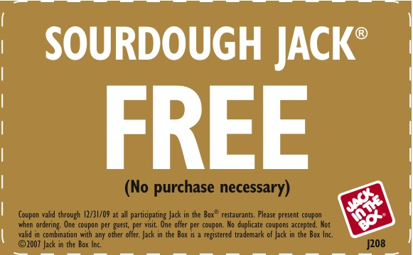 jack in the box free coupons