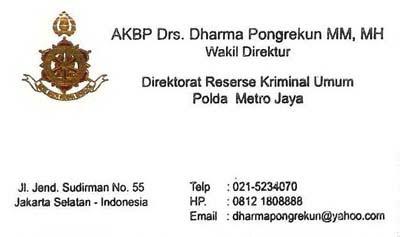 Kartu Nama AKBP Dharma Pongrekun, SH, MM, MH