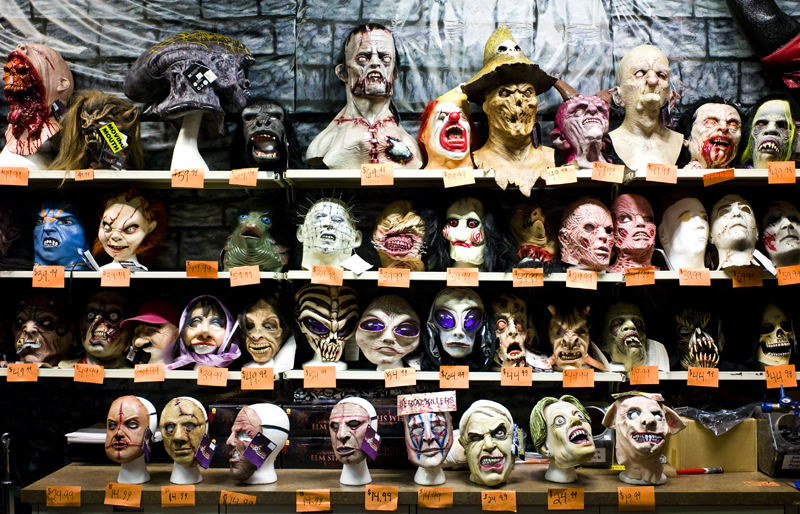 masks at johnny brocks dungeon a halloween store in st louis mo range from 15 to 150 - St Louis Halloween Store